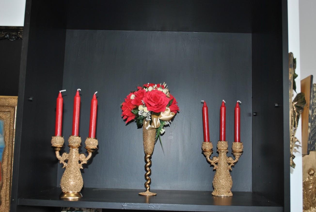 Комплект ваза с 2 бр. свещници