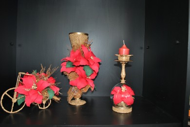 Set - wheel, vase and candlestick